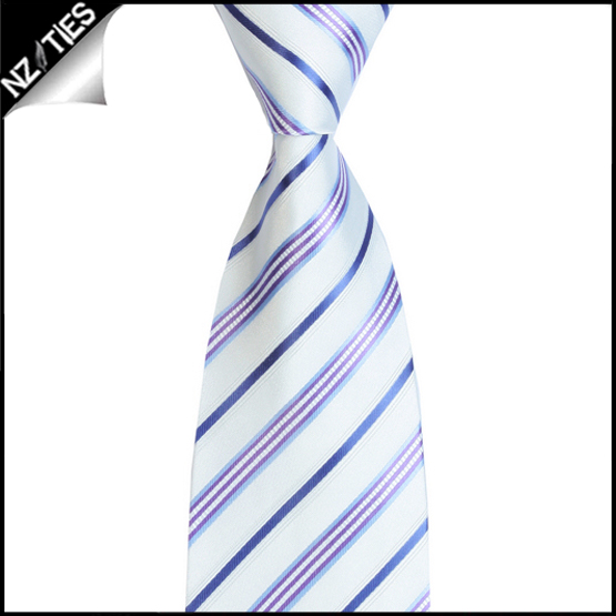 Ivory with Blue, Violet, Indigo & White Stripes Mens Necktie 2