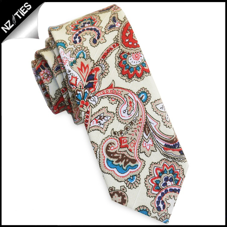 Cream with Red Floral Paisley Men's Skinny Tie