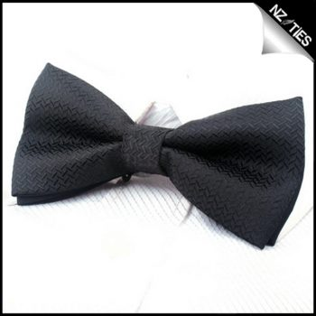Black With V Texture Bow Tie