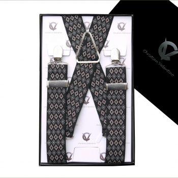 Black With White & Brown Diamonds 3.5X XL Braces