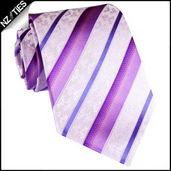 Purple & Pale Pink Floral Stripes Mens Necktie
