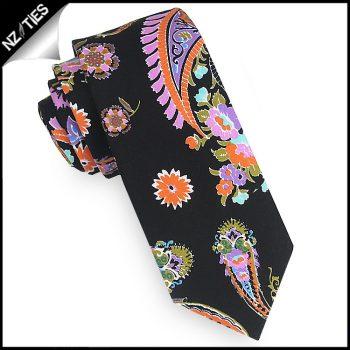 Black With Fluoro Paisley Mens Skinny Necktie