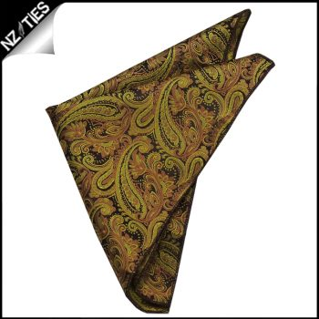 Black & Gold Paisley Pocket Square