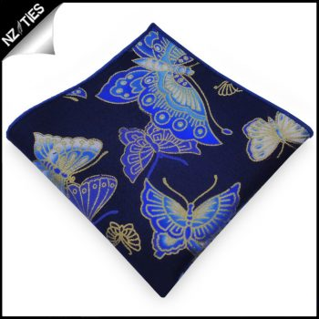 Dark Blue With Gold, Blue & White Butterflies Pocket Square