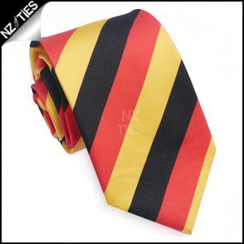 Black, Red & Yellow Stripes Mens Sports Necktie