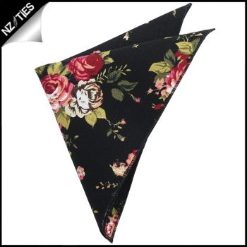 Black With Pink Flowers Pocket Square
