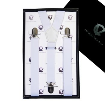 Boy's White Y2.5cm Braces Suspenders
