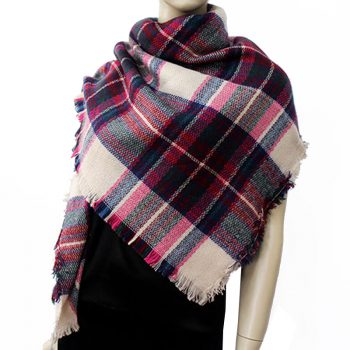 Cream, Pink, Red, Green & Blue Tartan Womens Scarf