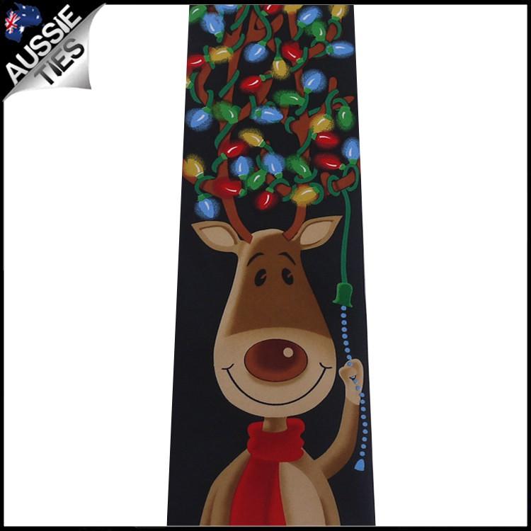 Black Rudolph Christmas Lights Tie 2