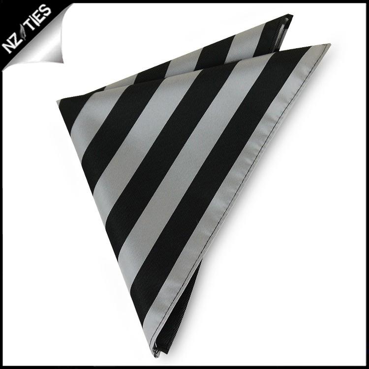 Silver & Black Striped Pocket Square Handkerchief
