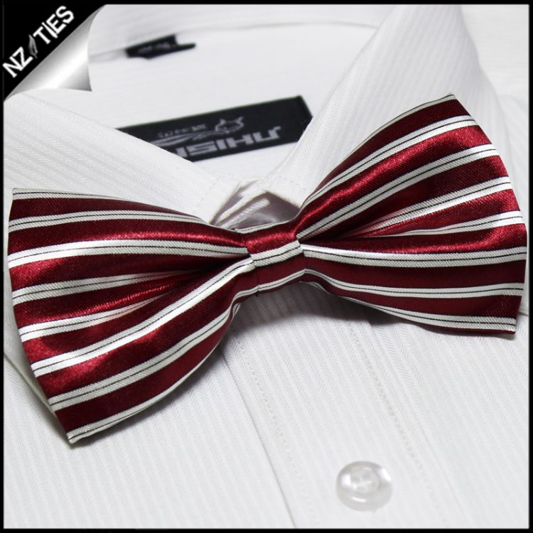 Scarlet Red and White Stripes Bow Tie