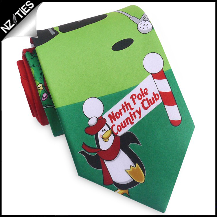 Red North Pole Golf Christmas Tie