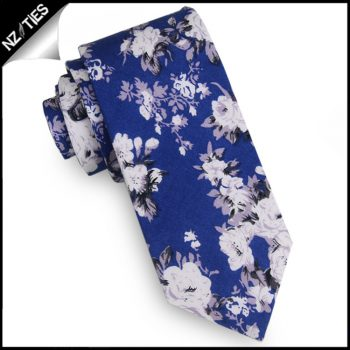 Mid Indigo Blue With White And Lilac Floral Pattern Men's Skinny