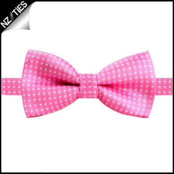 Boys Pink With White Polka Dots Bow Tie