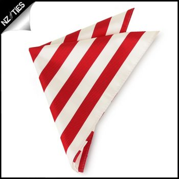 Red & White Striped Pocket Square Handkerchief