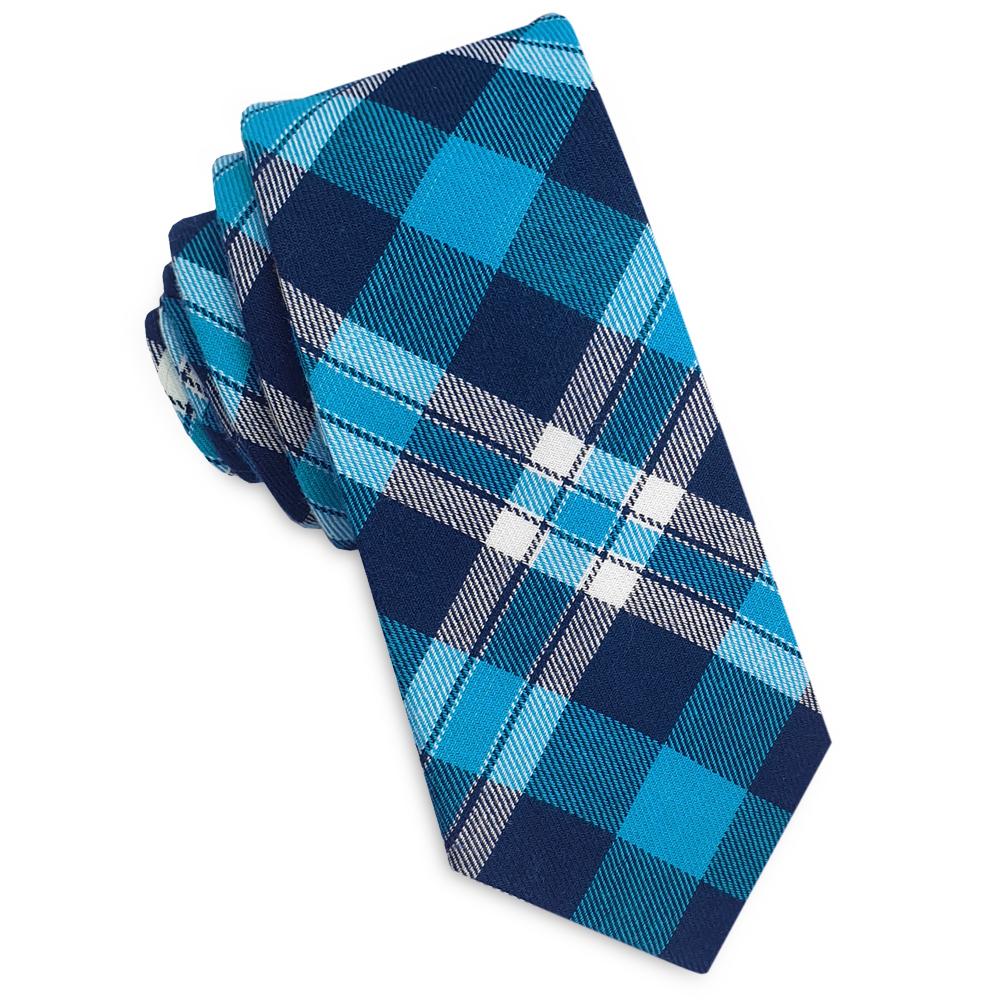Dark Blue, Turquoise and White Tartan Plaid Skinny Tie
