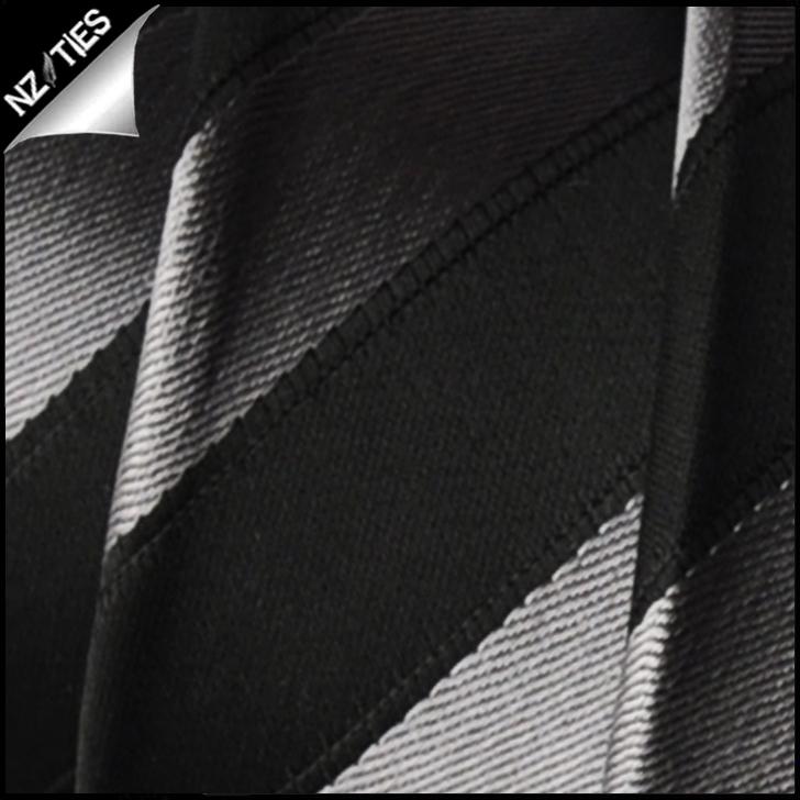 Black and Silver Stripes Mens Necktie 2