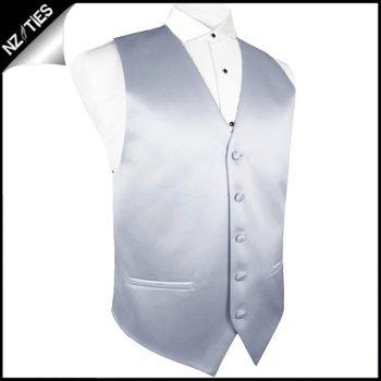 Mens Mid Silver Waistcoat Vest