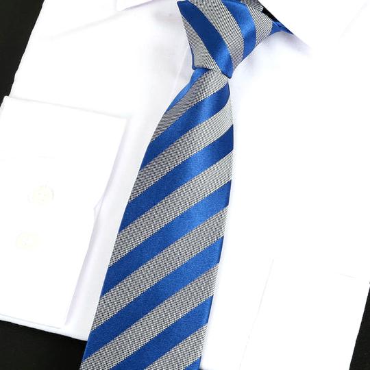 Silver & Blue Stripes Silk Tie 2