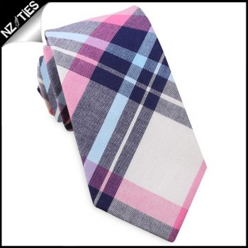 Navy, Light Blue, Pink & White Tartan Plaid Slim Tie