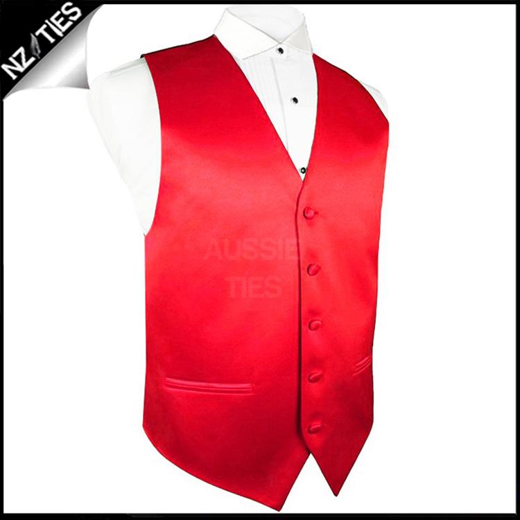 "Mens Cherry Red Waistcoat Vest 32"" / 82cm XS"