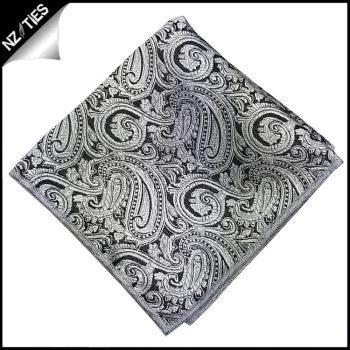 Silver & Black Paisley Pocket Square