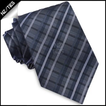 Grey, Black And White Plaid Mens Tie