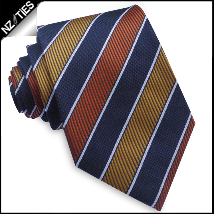 Orange, Yellow, Midnight blue & White Stripes Mens Tie