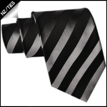 Black And Silver Stripes Mens Necktie