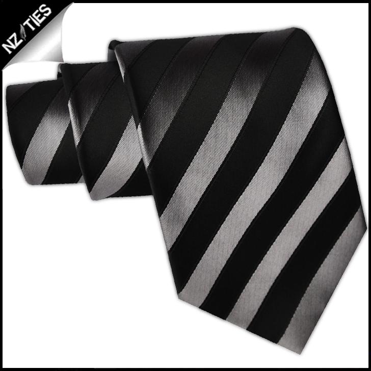 Black and Silver Stripes Mens Necktie