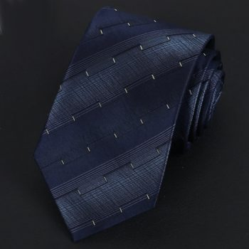 Dark Blue Stripes With Gold Ridged Pattern Silk Tie
