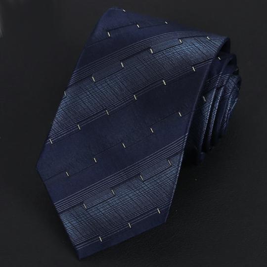 Dark Blue Stripes with Gold Ridged Pattern Silk Tie