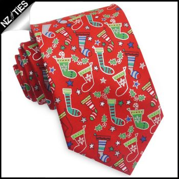 Red With Christmas Stockings Tie