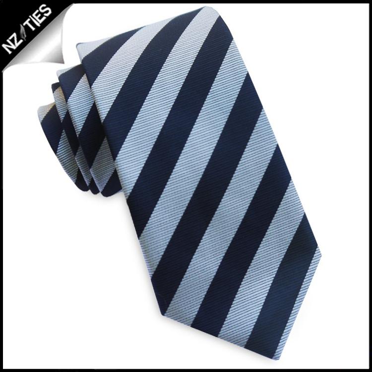 Silver & Midnight Blue Stripes Skinny Tie