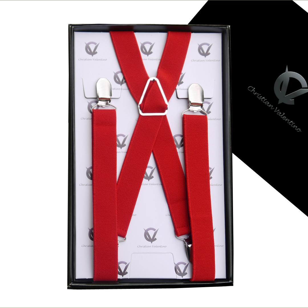 Red X2.5cm Men's Braces Suspenders
