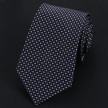 Black With Dark Blue & White Stars Silk Tie
