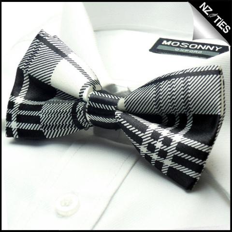 Mens Black & White Tartan Bow Tie