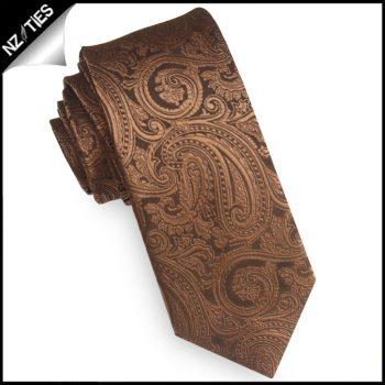 Bronze Paisley Mens Skinny Necktie
