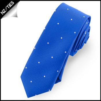 Royal Blue Pin Dot Mens Skinny Necktie