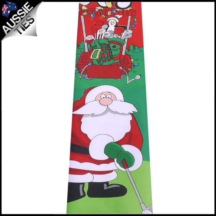 Red North Pole Golf Christmas Tie 2
