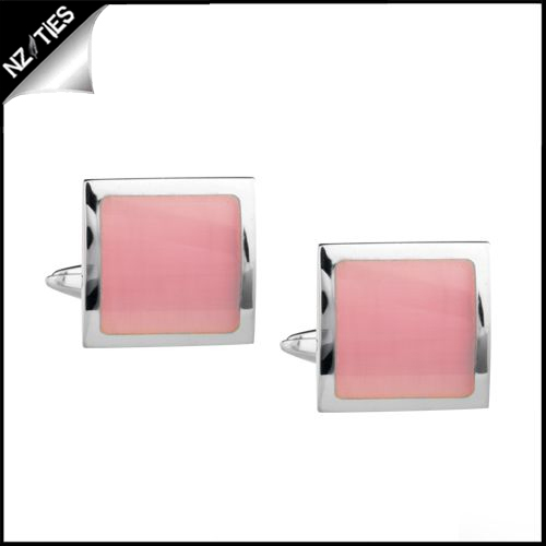 Mens Silver with Pink Inset Cufflinks