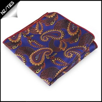 Purple / Indigo With Gold Paisley Pocket Square