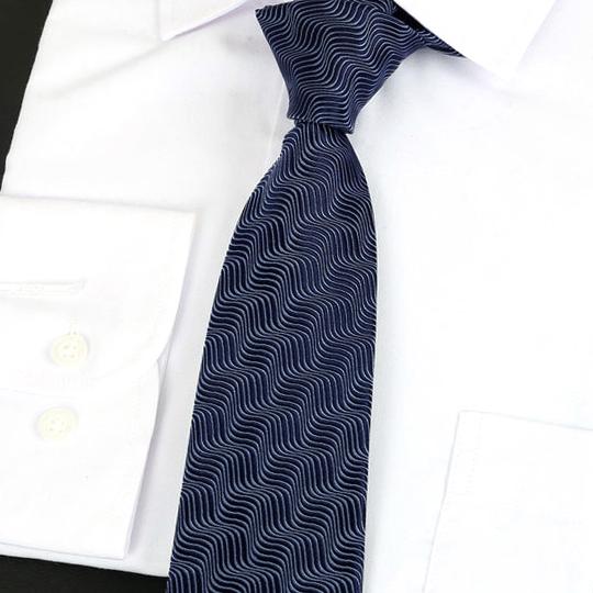 Dark Blue Waves Pattern Silk Tie 2