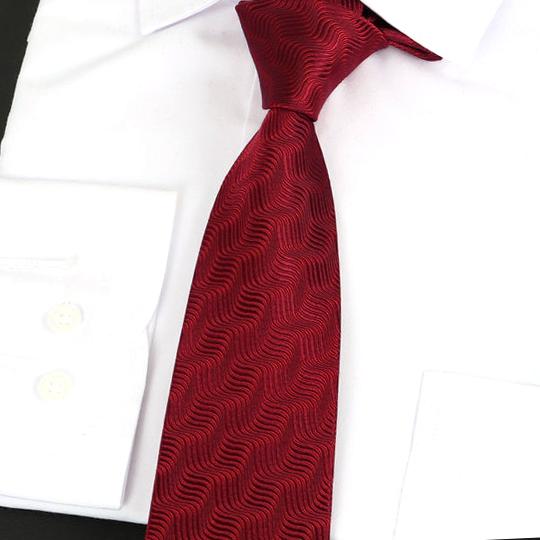 Dark Red Waves Pattern Silk Tie 2
