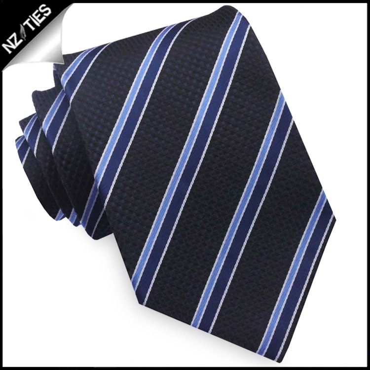 Textured Black with Cobalt and Midnight Blue Stripes Tie Set 2