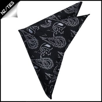 Black With White Paisley Pocket Square