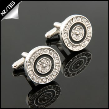 Mens Circular Diamante Cufflinks
