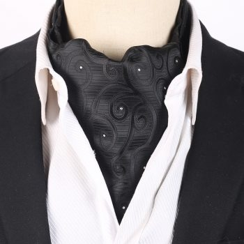 Black Swirls With Sparkly Dots Ascot Cravat