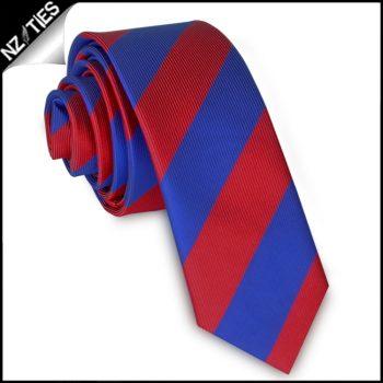 Red & Blue Stripes Mens Skinny Necktie