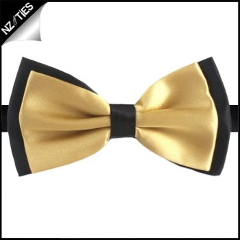 Light Gold With Black Back Bow Tie